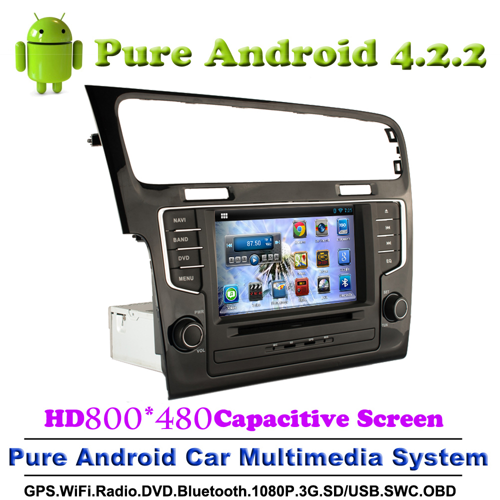 Pure Android 4.2.2 Car DVD GPS Navi For Volkswagen New Golf 7 2013 2014 2015 With 3G WiFi 800*480 Touch screen Bluetooth Stereo(China (Mainland))