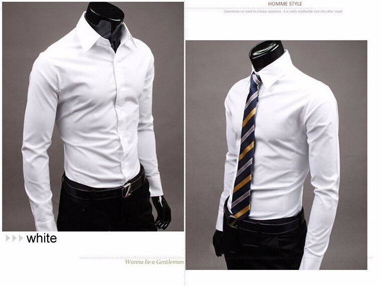 2015 New Fashion Men Shirt Long Sleeve Mens Shirts Camisa Slim Fit Masculina Social Chemise Homme