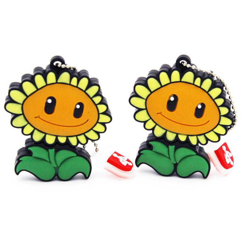 Wholesale price 100% real capacity Sunflower USB Flash Drive Plants Vs Zombies hot sale cartoon 4GB/8GB/16GB/32GB Wholesale(China (Mainland))
