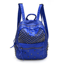 2016 Fashion Women Waterproof PU Leather Rivet Backpack Women's Backpacks for Teenage Girls Ladies Bags with Zippers Black Bags(China (Mainland))