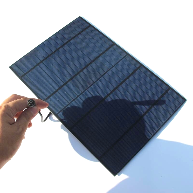 Hot 10W 18V Solar Cell Polycrystalline PET Solar Panel With Around 25CM DC Connector 318*215*3MM 2PCS/Lot Free Shipping(China (Mainland))