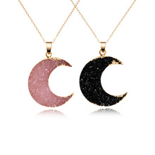 Buy 1PC Fashion Druzy Resin Moon Pendant Necklace Women Gold Color Black Drusy Chain Necklace Jewelry N353-T2 for $1.81 in AliExpress store