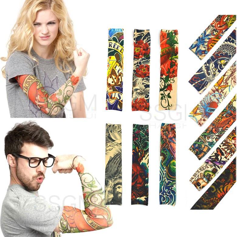 татуировка рукава поддельные эластичные руку платье костюм партии мужчин женщин Змея Тигр рыбы