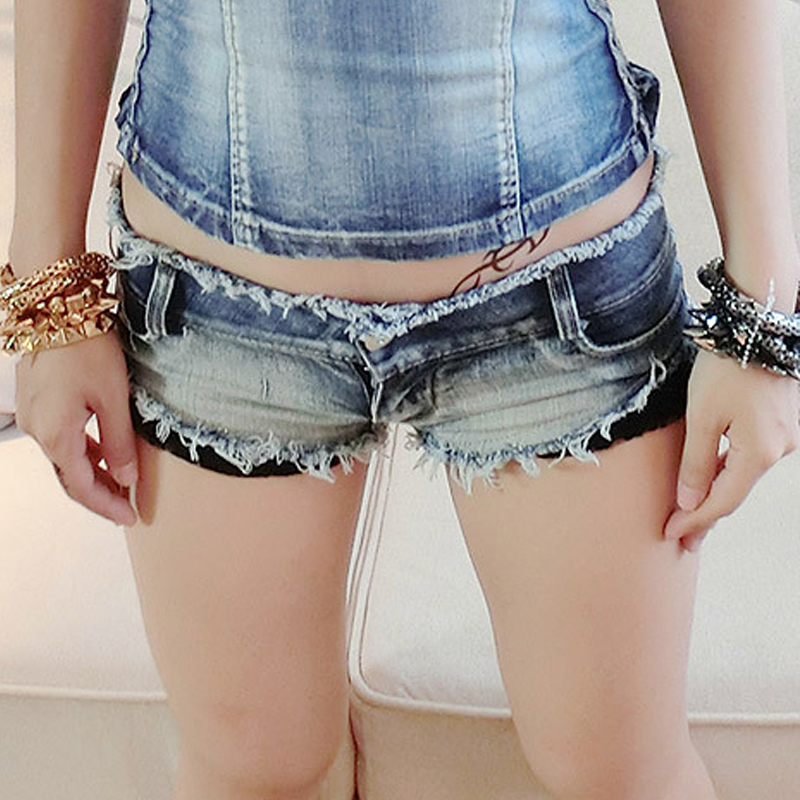 Fashion Women's Denim Shorts Lace Patchwork Low Waisted Women Soft Package Hip Show Thin Jeans Short H-94 - LY DIY & Wedding store