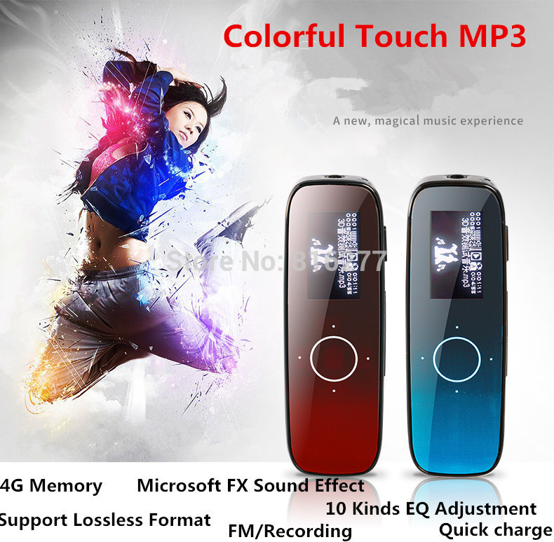 Original Brand 4G MP3 player with touch screen Lyrics display running sport mini MP3 support FM function one touch recording(China (Mainland))