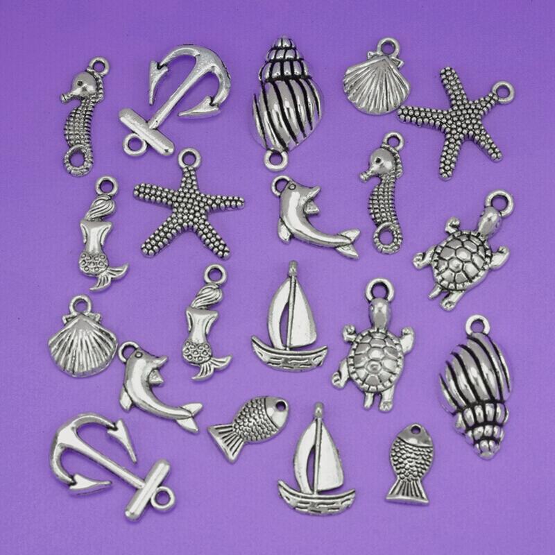 New Fashion Jewelry 100 pcs Charm Tibetan Silver Mixed Sea Pendant Charms Seahorse Shell Fish Anchor Beach Jewelry Fitting S3899(China (Mainland))