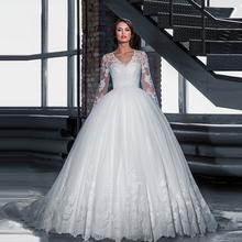 Vestido de novia 2016 New Long Sleeve Ball Gown Wedding Dress Custom Made Princess Lace Robe de mariage Dress wedding dress(China (Mainland))