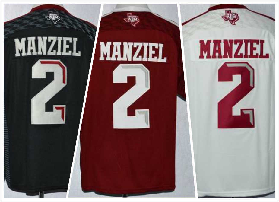 Cheap Johnny Manziel Jersey #2 Texas College Football Jersey Red Black White 100% Stitched Embroidery Logos Free Shipping(China (Mainland))