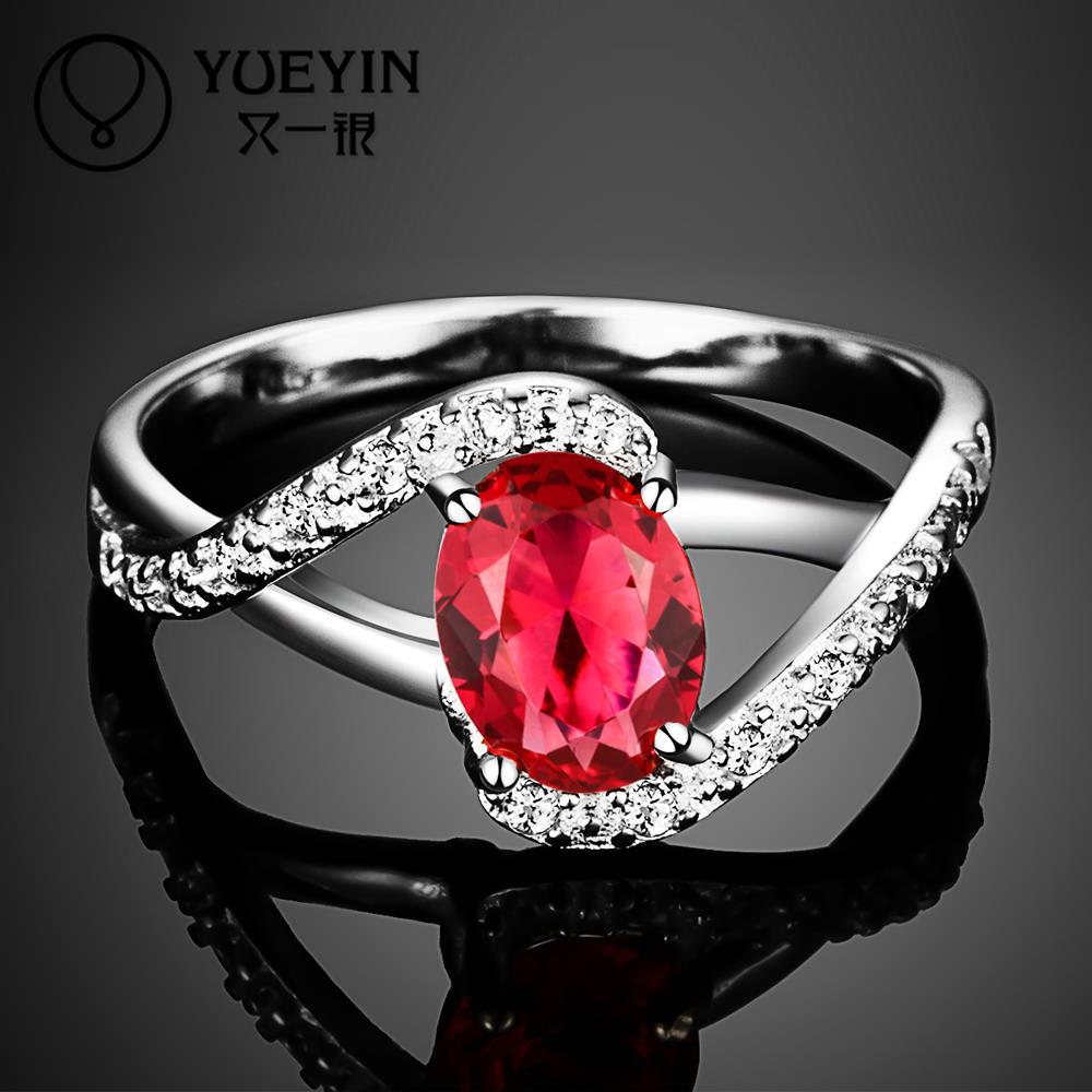 R004 New Arrival ruby jewelry 925 sterling silver ring fashion Dubai wedding rings for women aneis