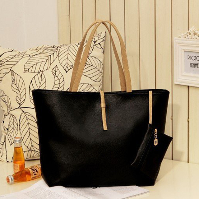 Special Offer! PU leather Fashion Simple Handbag Classic Women Shoulder Bag with Small Wallet Handbags, Black Bags Set Y027
