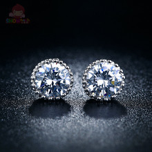 Trendy style simple design white zircon silver plated female & male stud earrings lovely gift for friends valentine gift SHAE284(China (Mainland))