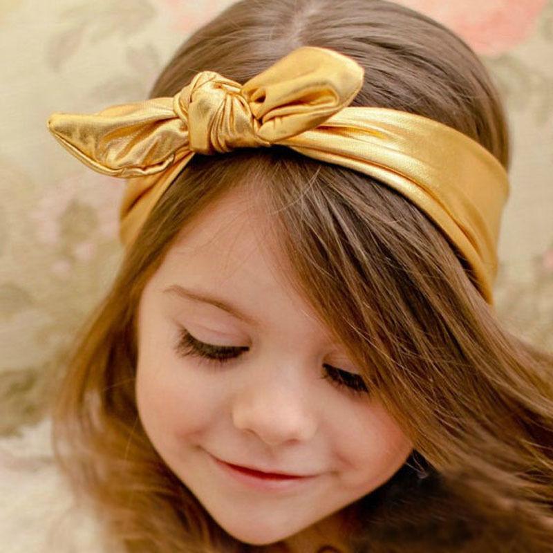 New Fashion Children Metallic Messy Big Bow baby Girls Headband Baby kids Cloth Turban Knot Hairband Wrap Hair Accessories(China (Mainland))