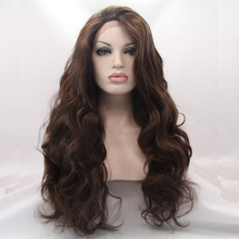 natural look dark coffee body wave wigs high quality long wavy hair synthetic lace front wig heat resistant fiber in stock(China (Mainland))