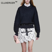 CLUXERCER Brand autumn winter cashmere sweater women hand knitted o-neck sweater loose long sleeve solid 100% wool sweater(China (Mainland))