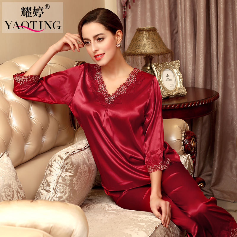 Spring and Autumn Sexy Lingerie Polyester Long-sleeve Female Pajamas Suits Classic Imitation Silk Clothes At Home(China (Mainland))