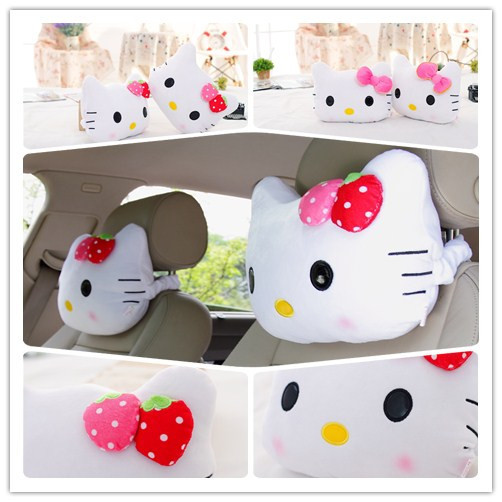 2PCS Free Shipping Cute Car Neck Pillow With Pink Bowk,Hello Kitty Car Accessories White With Pink Red Color(China (Mainland))