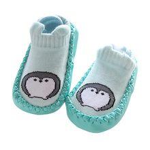 Детские носки с резиновой подошвой, детские носки-тапочки для новорожденных девочек и мальчиков, противоскользящая обувь, осенне-зимние но...(China)