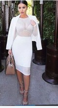 new 2015 top quality fashion women white nude black blue long sleeves mesh bandage dresses knee length celebrity women dresses