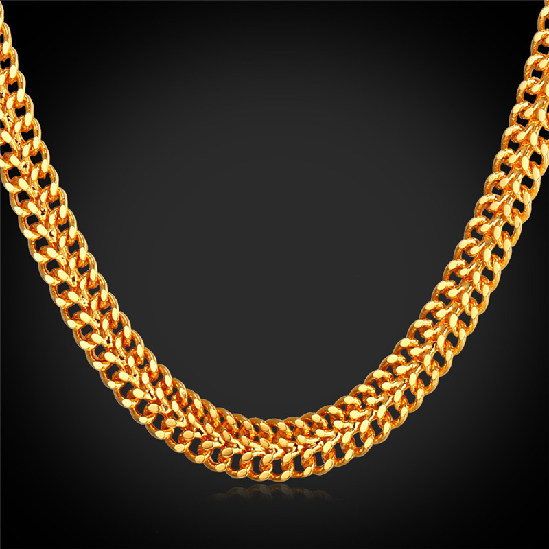 Gold Mesh Chain Men Necklace With '18K' Stamp Real Gold Plated Wholesale 2015 New Trendy Gift For Men Chain Gold Necklaces N230(China (Mainland))