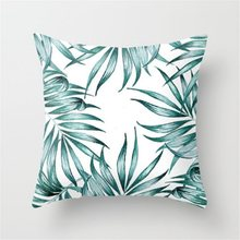 Green Tropical plant Pillow Case Cotton Linen Cover Decorative for giving your good sleep(China)