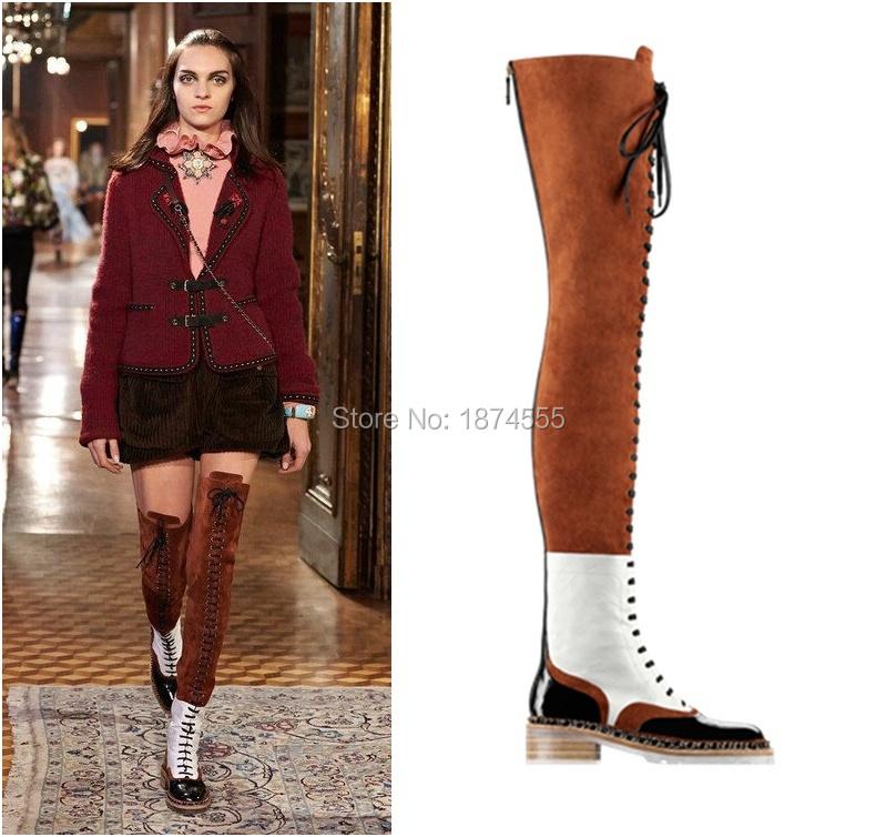 Brown Thigh High Flat Boots - Yu Boots