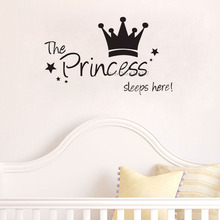 The Princess wall sticker Sleeps Here wall art decals living room decorative stickers wallpaper quote(China (Mainland))