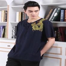 Discount Navy Blue Tradition Chinese Men's V-Neck Cotton Linen Embroidery Dragon Kung-Fu short sleeve shirt M L XL XXL XXXL(China (Mainland))