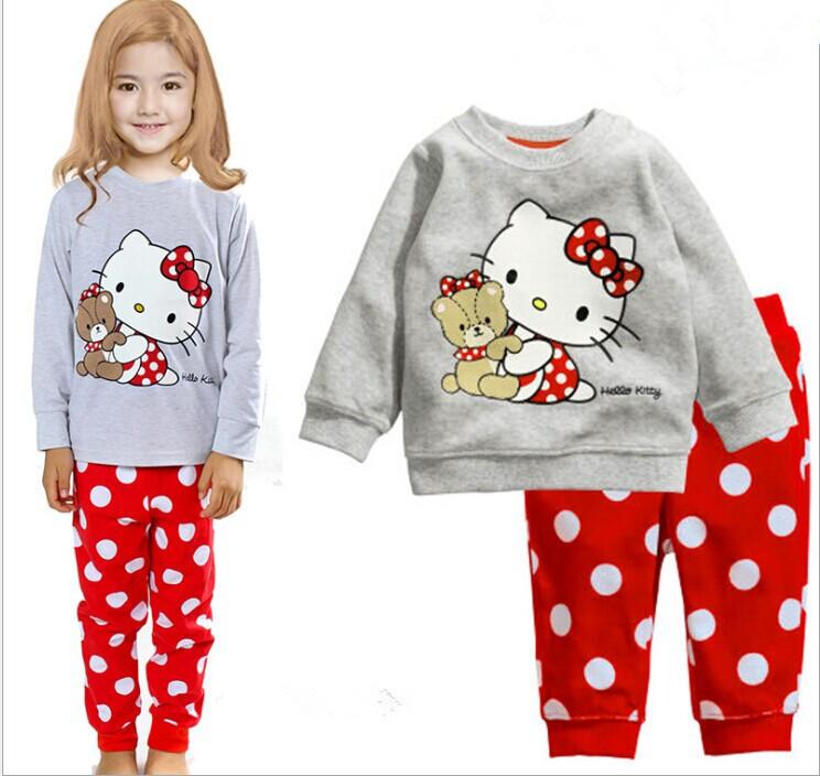 2015 New Spring Autumn Kid Pajama Set 100% Cotton KT Cart Girl Clothing Set 2-7 Age Brand Child Pajama Baby Girl Clothes Set(China (Mainland))