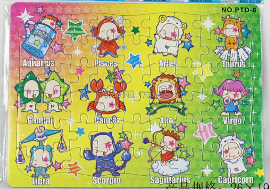Promotion premiums GC-PTD-8-OPP Multicolor 25.6 X 18.6 cm 54PCS 12 Constellations Cartoon Jigsaw puzzle manufacturer toy(China (Mainland))