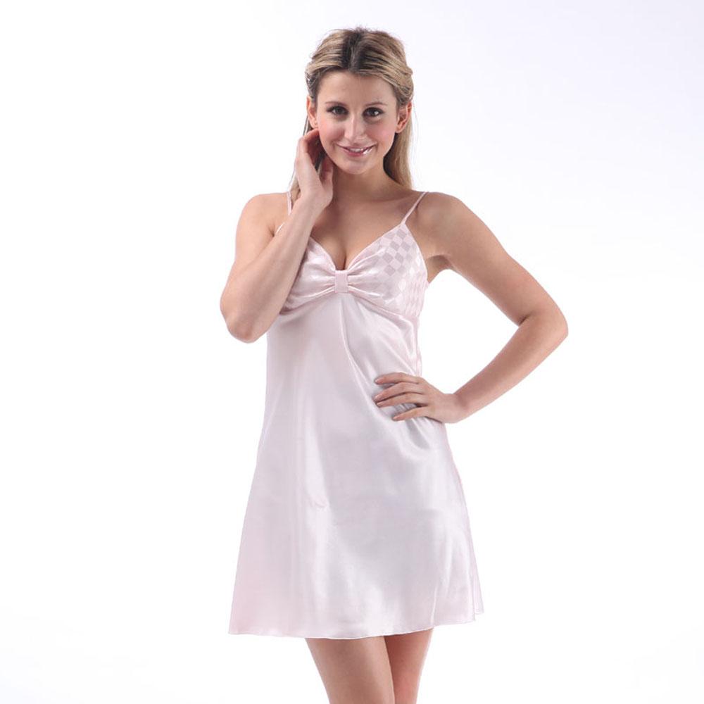 Women Summer Sexy Spaghetti Strap Short Silk Nightgown Sleepwear Night Dress Lady Sleepshirts Nightgowns(China (Mainland))