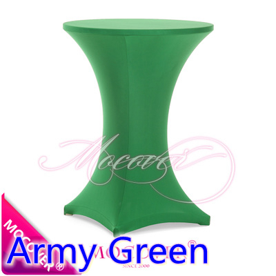 Army Green Spandex table cover,cocktail table cloth,lycra high bar table cover wedding,party and hotel table decoration(China (Mainland))