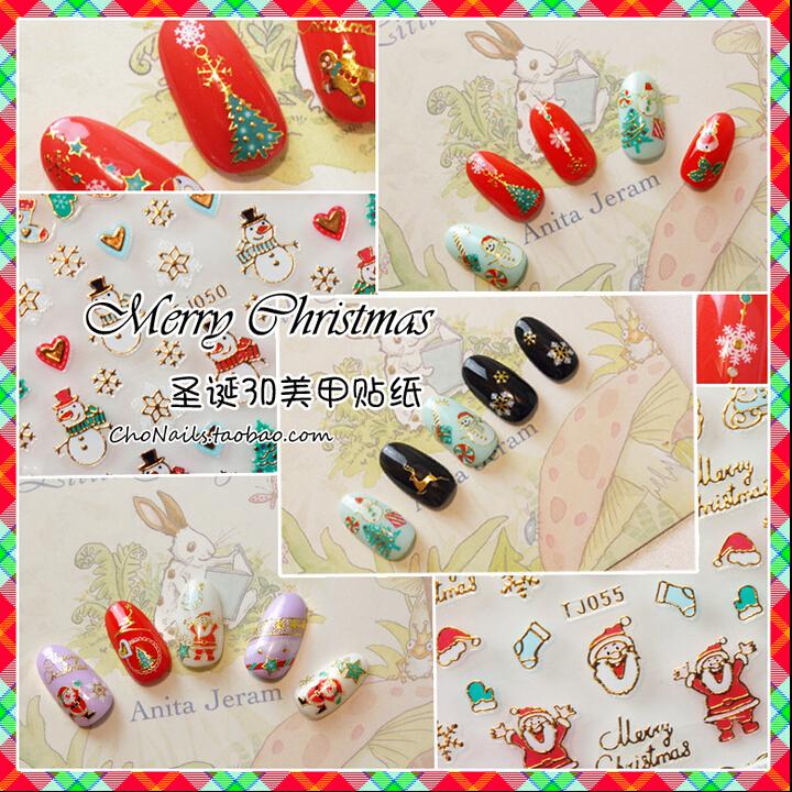 100Sheets Nice Winter Christmas 3D Nail Art Stickers Shinning Gold&Silver Design Christmas Snowflakes Nail Decals,12+ TJ049-TJ60(China (Mainland))