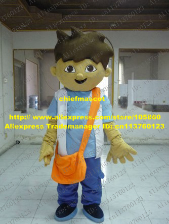 Smart Brown Diego Boy Mascot Costume Mascotte Dora The Explorer With Long Orange Bag White Shirt Blue Pants No.7640 Free Ship(China (Mainland))