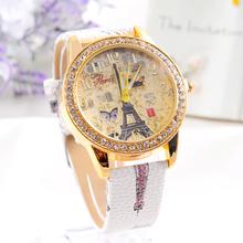 New Design Fashion female WristWatch Paris Style Tower Butterfly PU Leather Women Watch lady dress watch