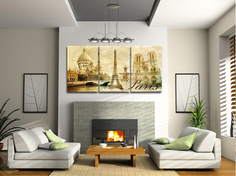 Hot 3 Piece Free Shipping Hot Modern Wall Painting French Architecture Home Decorative Art Picture Paint