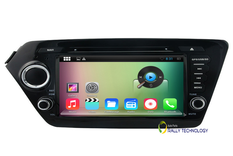 HD 8 inch 1024*600 Capacitive Screen 2 Din Cortex A9 1.6GHz Android 4.4.4 DVD GPS Car PC For Kia K2 Rio 2011-2012 Stereo Radio(China (Mainland))