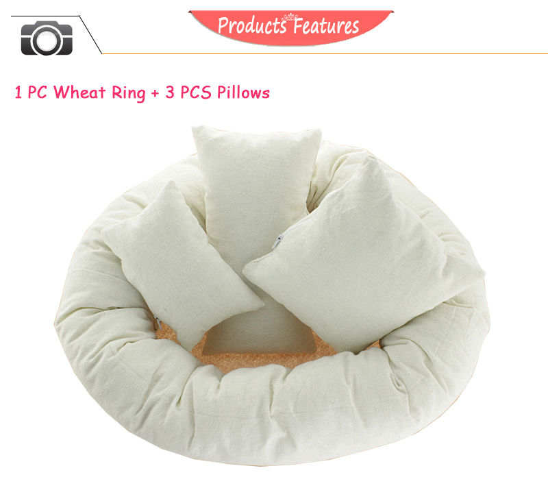 2016 Hot 4 PCS /Set Photography Props Newborn Infant Baby Photography Basket Filler Wheat Donut Posing Props Baby Pillow Ring