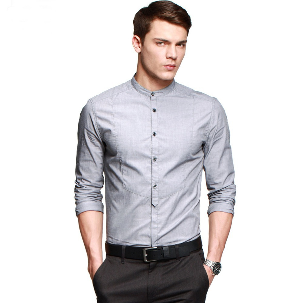 2014 hot mens slim fit shirt cotton casual mandarin collar
