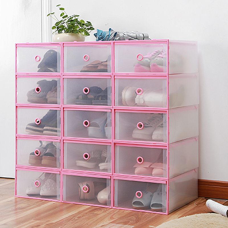 4PCS Shoes Wrapped Plastic Storage Box Drawer Type Transparent Plastic Shoes Box Drawer Storage(China (Mainland))