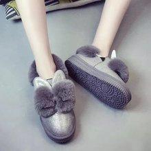 2017 nuevas mujeres de invierno botas de nieve zapatos antideslizantes Dulce y encantadora orejas de conejo engrosada inferior grueso zapatos de los estudiantes(China (Mainland))