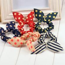 new 2016 original head flower hair accessories headdress Korea trinkets rabbit ears Fabric Polka Dot rubber band hair rope ring(China (Mainland))