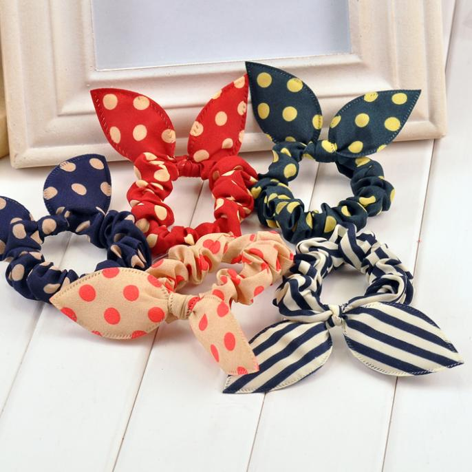 new 2014 original head flower hair accessories headdress Korea trinkets rabbit ears Fabric Polka Dot rubber band hair rope ring(China (Mainland))
