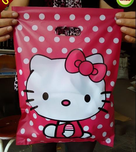 50pcs/lot 30*40cm cute HELLO KITTY plastic bag with handle/gift bag shopping larger bag for clothes, trousers(China (Mainland))