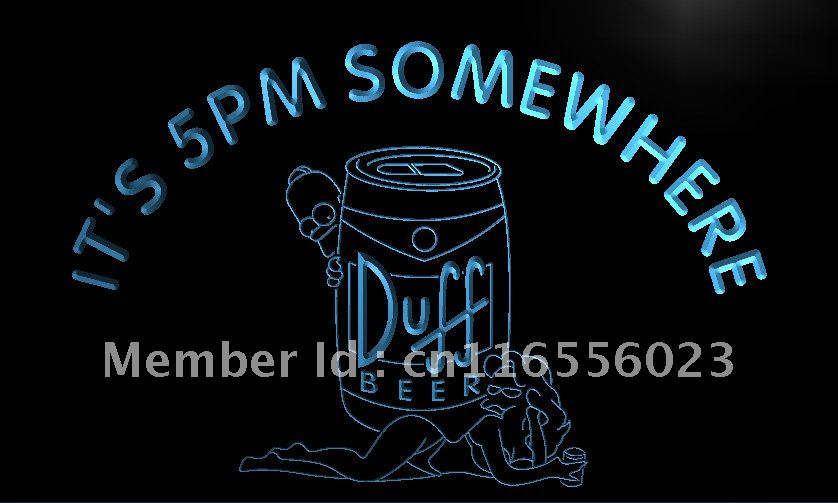 LA470- It's 5 pm Somewhere Duff Beer LED Neon Light Sign home decor crafts(China (Mainland))