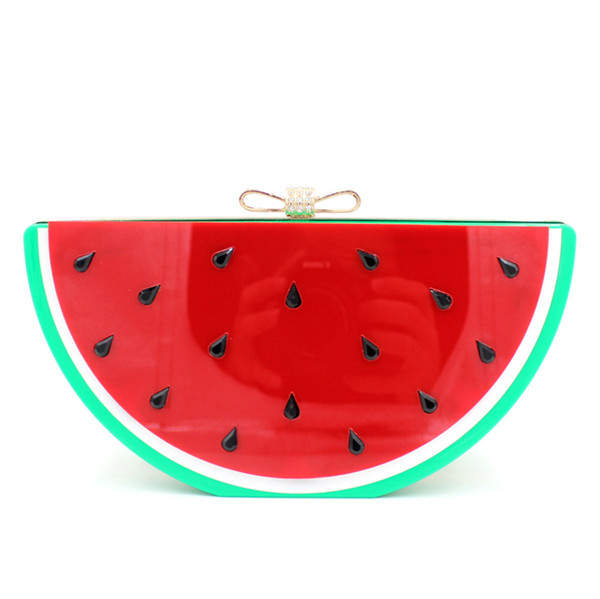 Europe And America Bow Rhinestone Watermelon Fruit Bag Package Lemon Acrylic Evening Bags With Chain<br><br>Aliexpress
