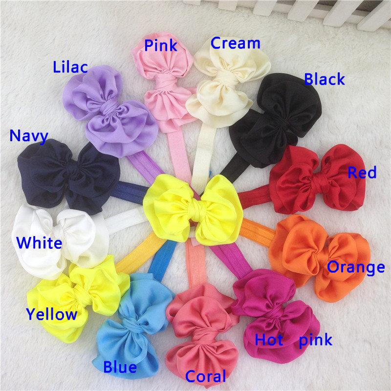 New 3.5inch solid satin hairbow with baby elastic headband,girls hairband for kids baby headband chrildren headware 24pcs/lot(China (Mainland))