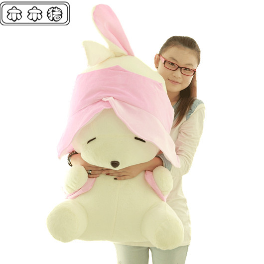 Large rascal rabbit 80cm plush doll lovers throw pillow toy blue pink colour choose gift