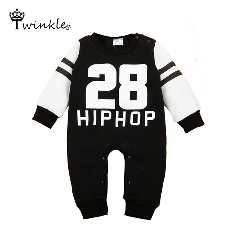 Newborn baby girl 2015 Baby Rompers fleece jumpsuit Long Sleeve Baby Boy Rompers Letter baby winter snowsuit romper free