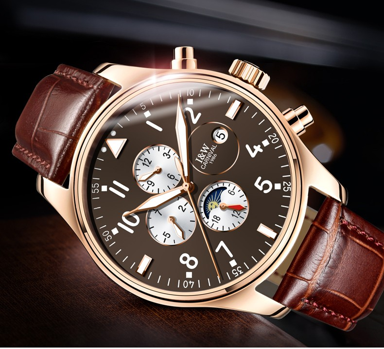 Carnival  Sapphire Automatic Mechanical Watch Men Stainless steel waterproof  brown leather Watch relogio masculine