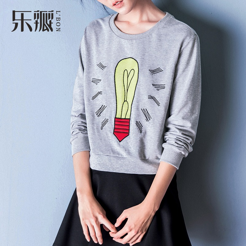 L' BON 2016 New Arrival Bulb Print Sweatshirt XL Women Cotton Top Casual Thin Pullover Hoodies Long Leeve Sport Style Blouse(China (Mainland))